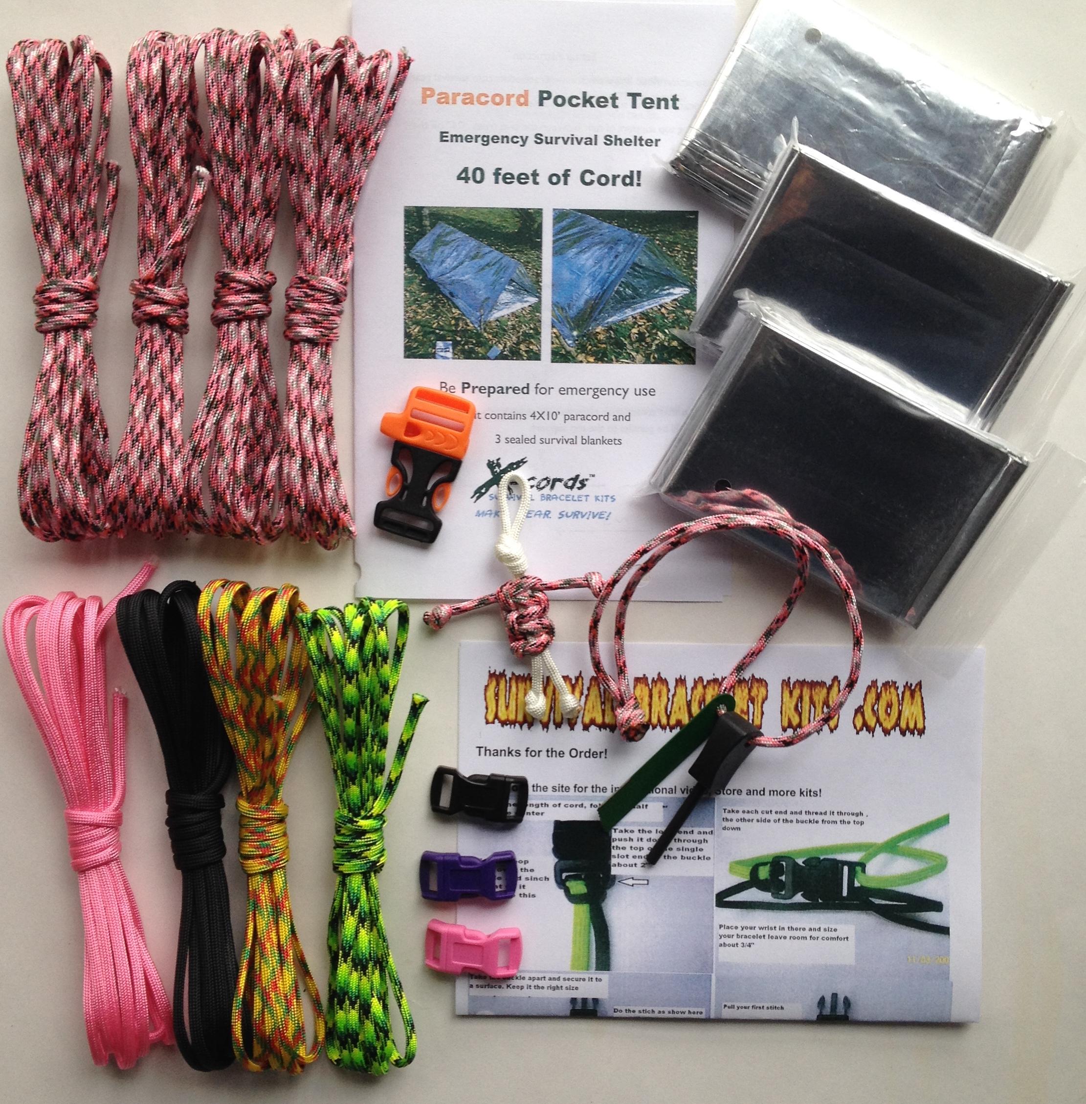 Pink Camo Paracord Survival Kit set