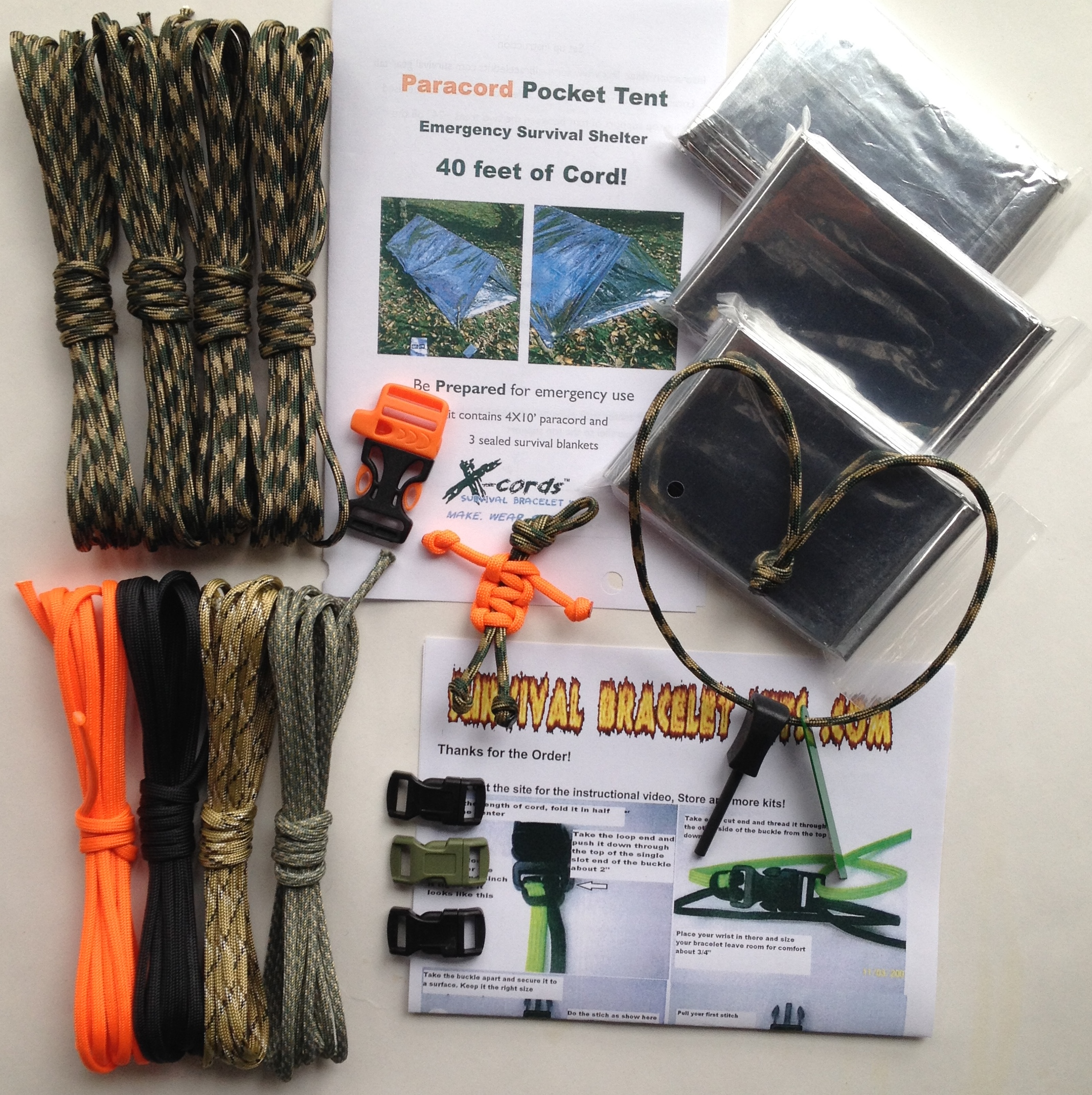 Woodland Camo Paracord Survival Kit set