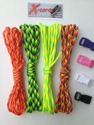 X-Cords Survival Bracelet Kit Family 4 Pack With X-treme Colors